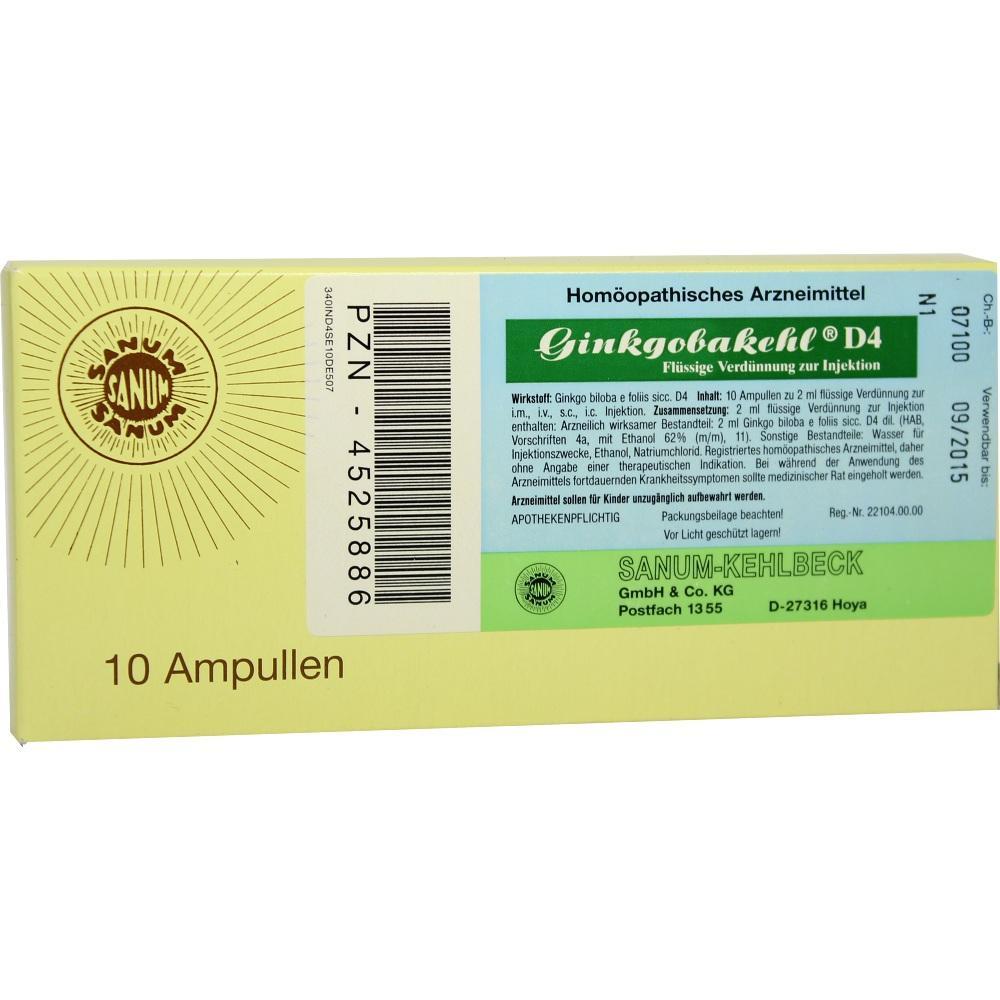 Sanum-Kehlbeck GmbH & Co. KG GINKGOBAKEHL D 4 Ampullen 04525886