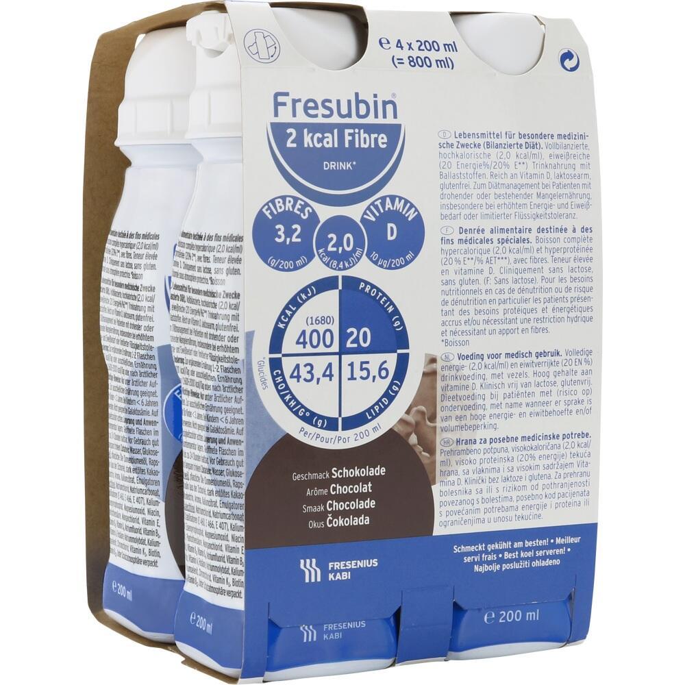 00063762, Fresubin 2 kcal fibre DRINK Schokolade Trinkfla., 4X200 ML
