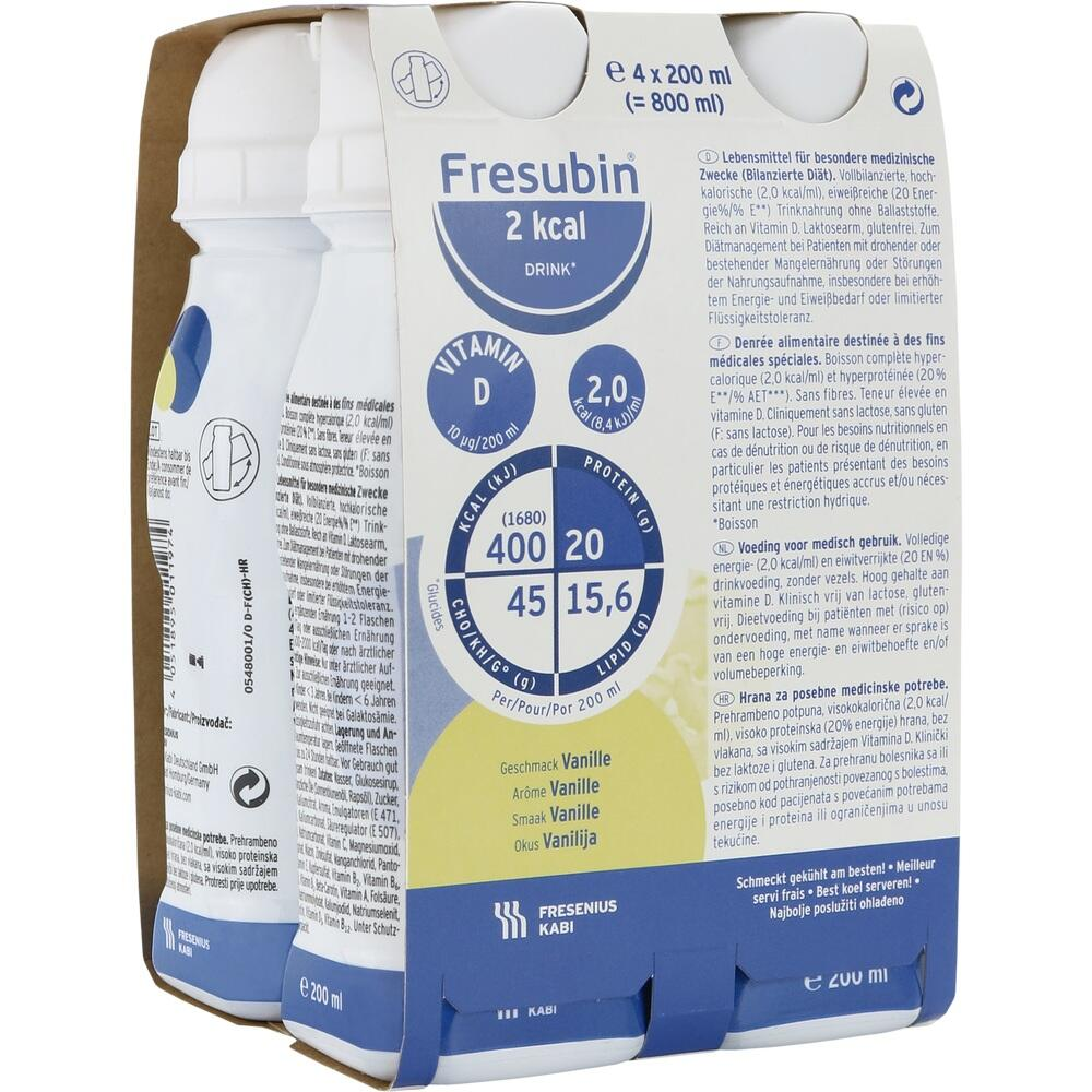 00063779, Fresubin 2 kcal DRINK Vanille Trinkflasche, 4X200 ML
