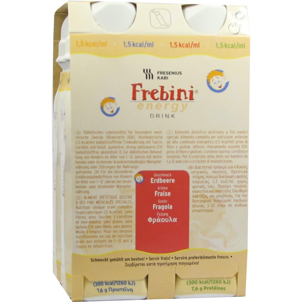 00063816, Frebini energy DRINK Erdbeere Trinkflasche, 4X200 ML