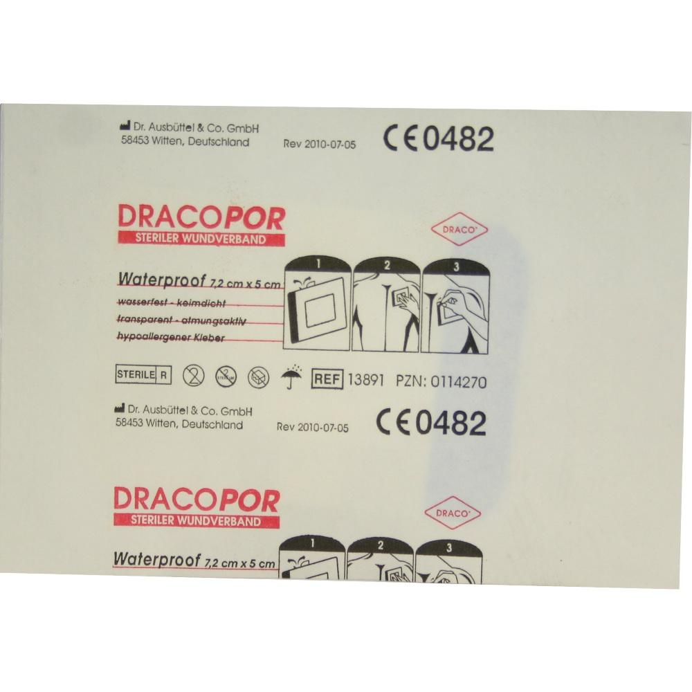 00114270, Dracopor Waterproof Wundverband steril 5cmx7.2cm, 1 ST