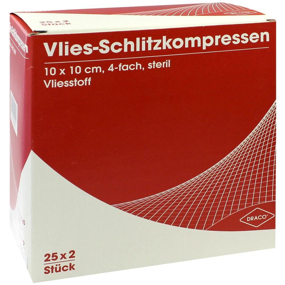 00749040, SCHLITZKOMPRESSE Vlies 10x10cm 4fach steril Ausbüt, 25X2 ST