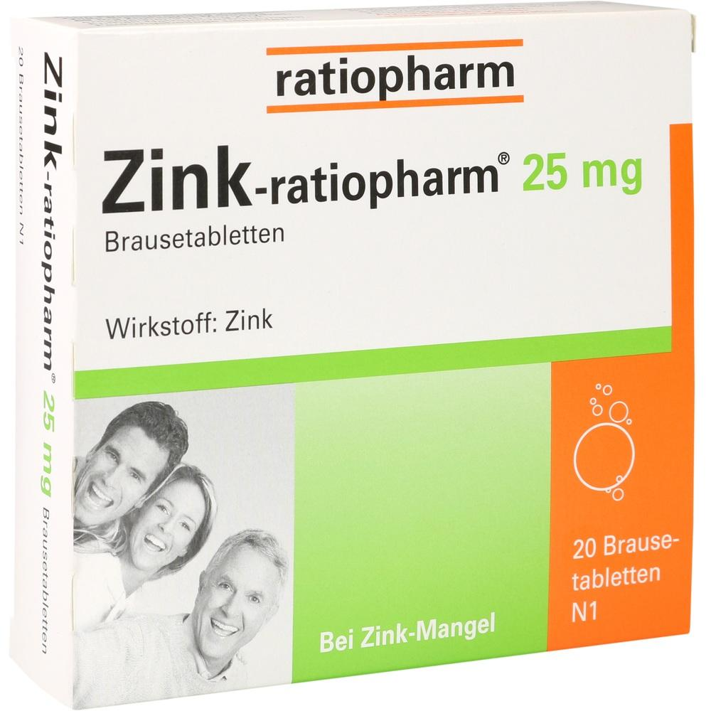 00813252, Zink ratiopharm 25mg Brausetabletten, 20 ST