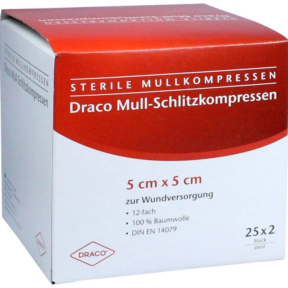 00816204, SCHLITZKOMPRESSE Mull 5x5cm 12fach steril Ausb, 25X2 ST