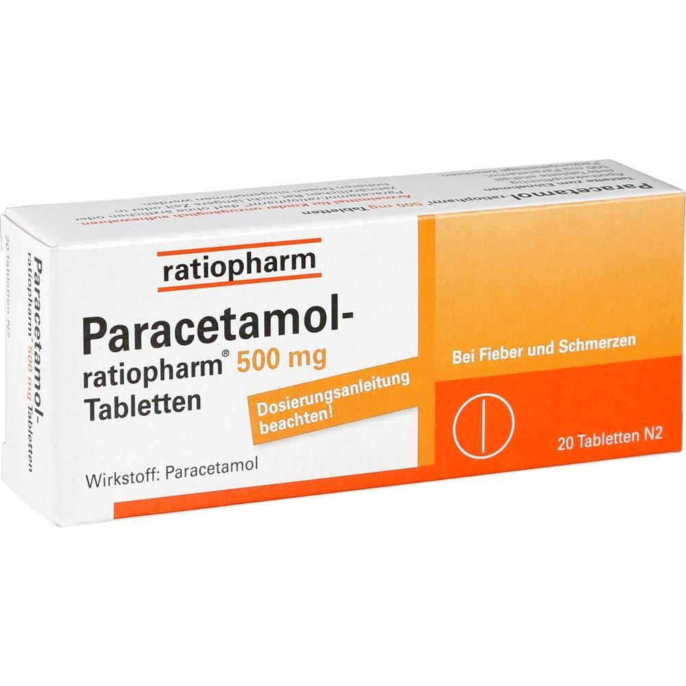 01126111, Paracetamol-ratiopharm 500mg Tabletten, 20 ST