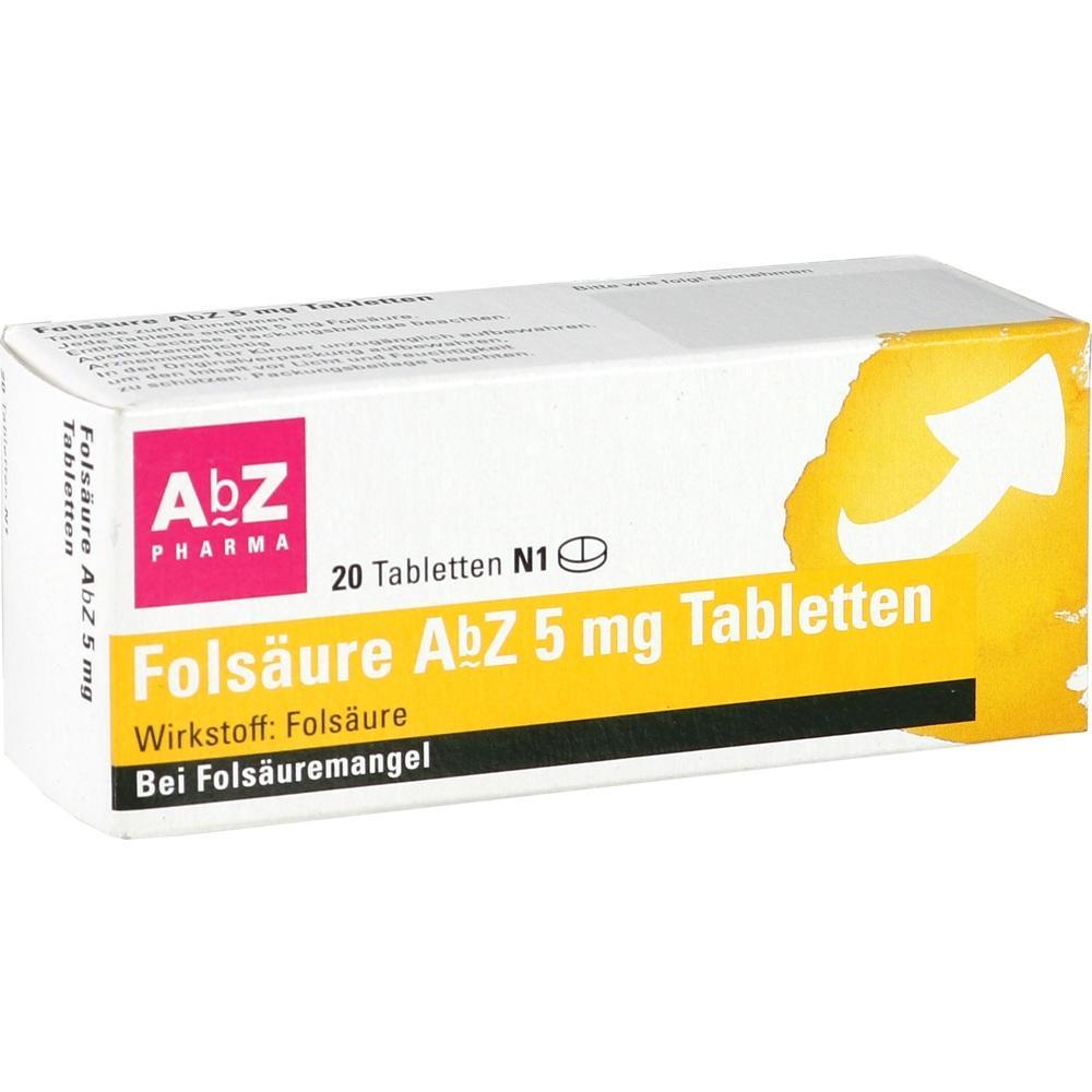 01234533, Folsäure AbZ 5mg Tabletten, 20 ST