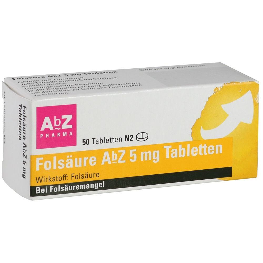 01234556, Folsäure AbZ 5mg Tabletten, 50 ST