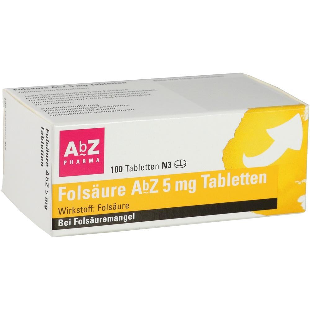 01234562, Folsäure AbZ 5mg Tabletten, 100 ST