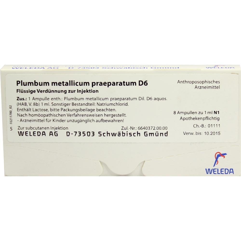 PLUMBUM METALLICUM praep. D 6 Ampullen