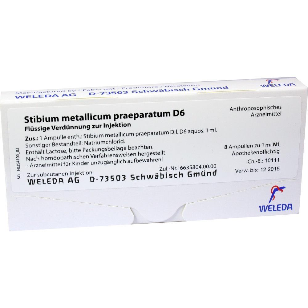 STIBIUM METALLICUM PRAEPARATUM D 6 Ampullen