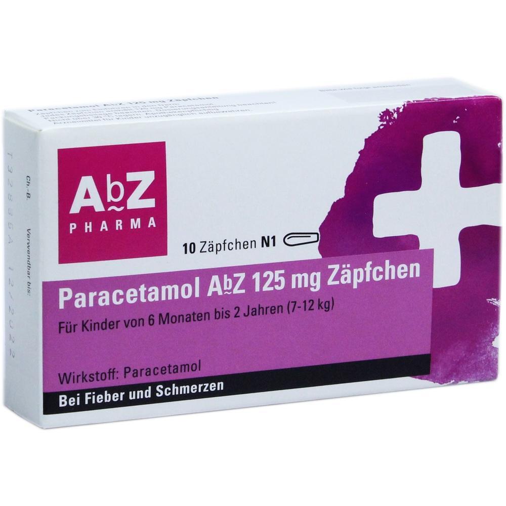 02058601, Paracetamol AbZ 125mg Zäpfchen, 10 ST
