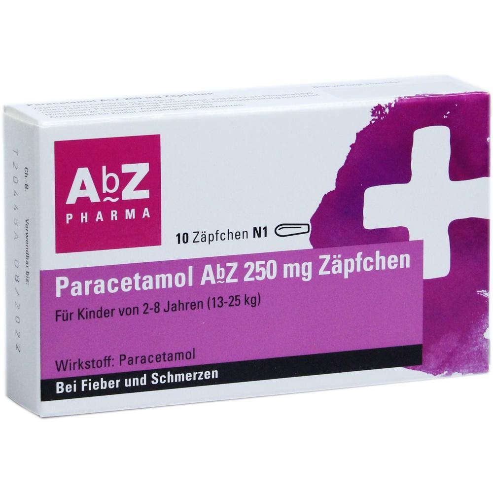 02058630, Paracetamol AbZ 250mg Zäpfchen, 10 ST