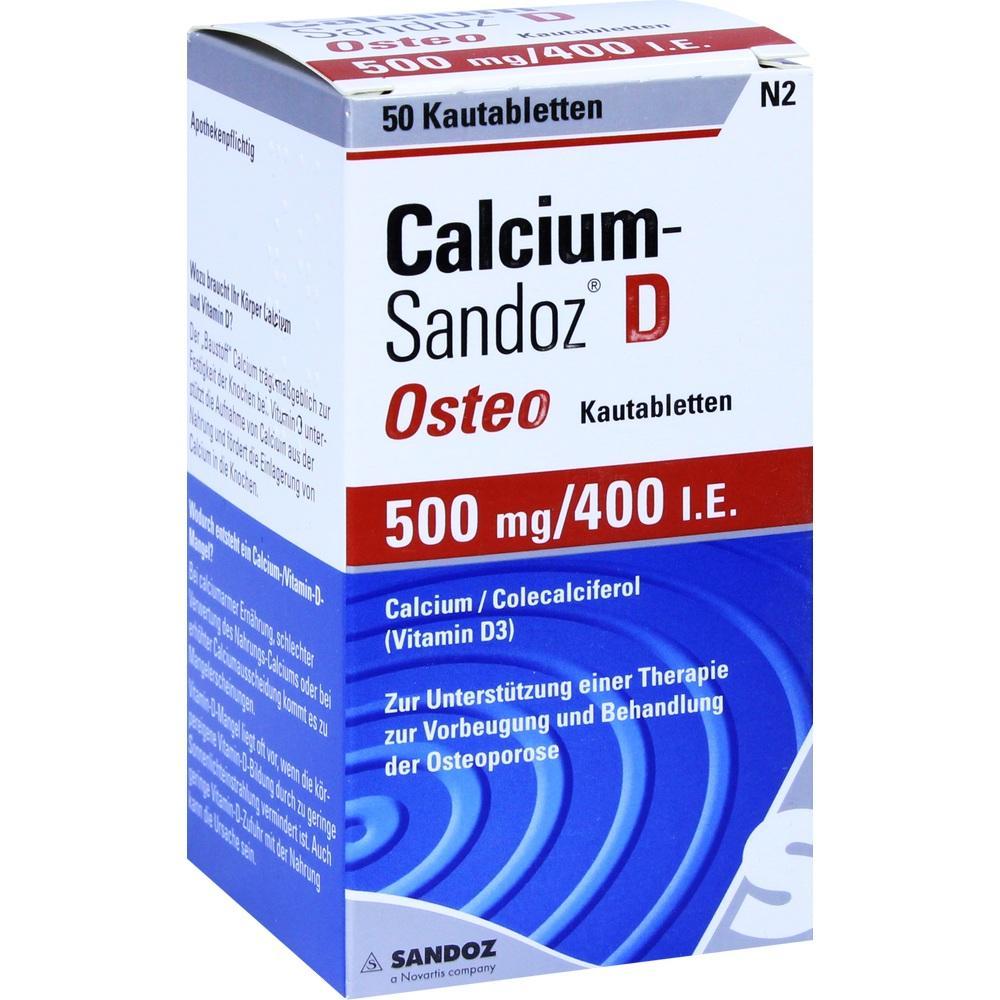 02227788, CALCIUM SANDOZ D OSTEO 500MG/400I.E. Kautablette, 50 ST