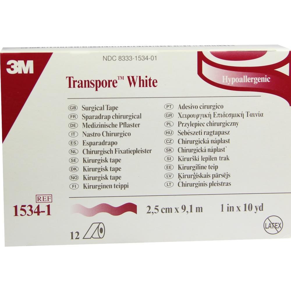 02520548, Transpore White 2.5cmX9.1m Rollenpflaster, 12 ST