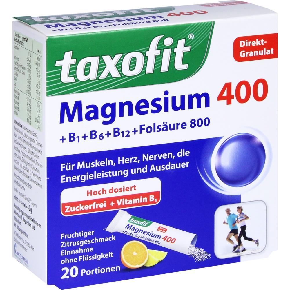 02597700, taxofit Magnesium 400+ B1+ B6+ B12+ Folsäure 800, 20 ST
