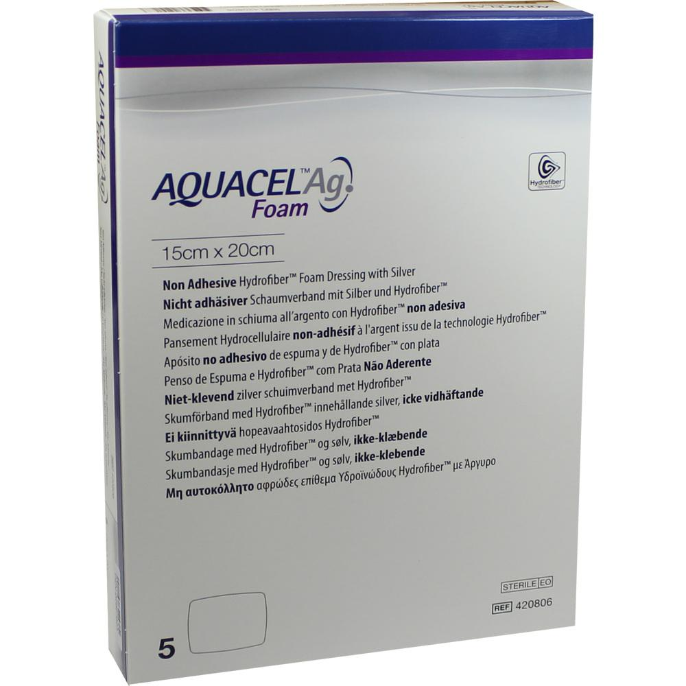 AQUACEL Ag Foam nicht adhäsiv 15x20 cm Verband