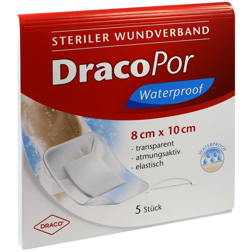 03030214, Dracopor Waterproof Wundverband steril 8cmx10cm, 5 ST