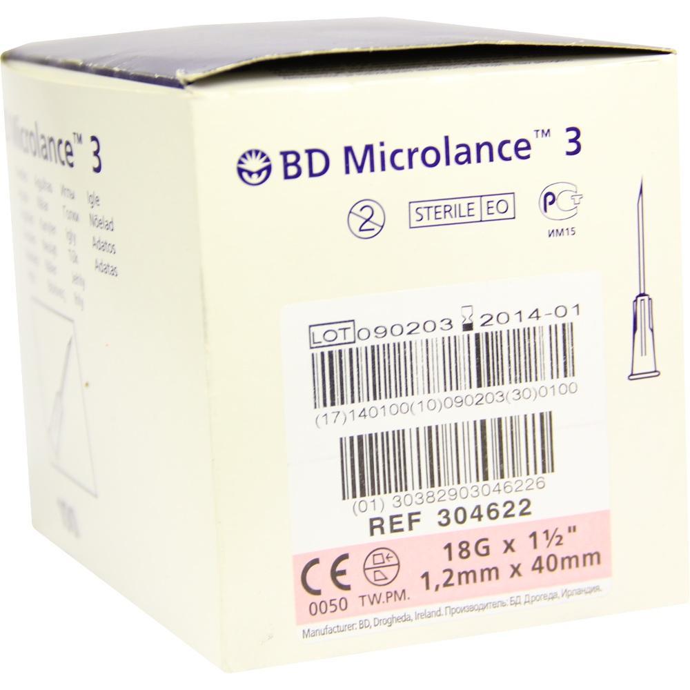 BD MICROLANCE Kanüle 18 G 1 1/2 trans.18 40 mm