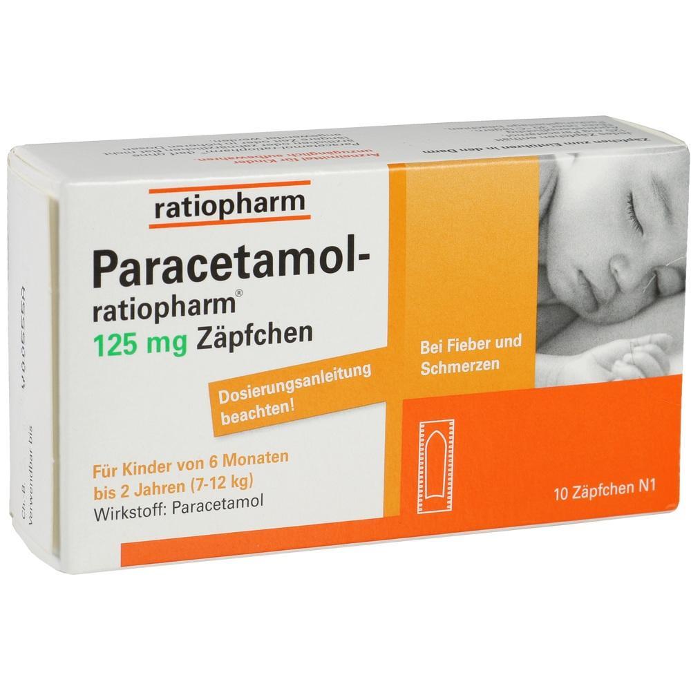 03953580, Paracetamol-ratiopharm 125mg Zäpfchen, 10 ST