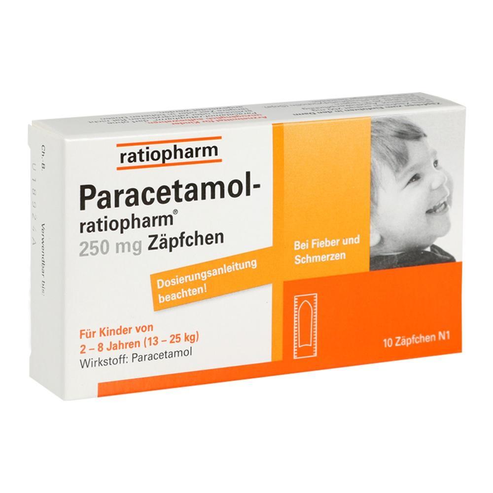 03953597, Paracetamol-ratiopharm 250mg Zäpfchen, 10 ST