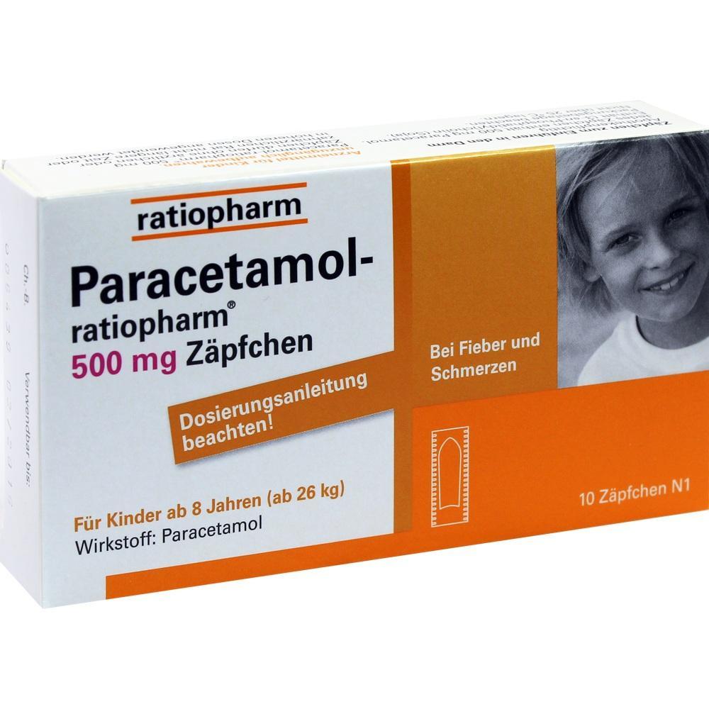 03953605, Paracetamol-ratiopharm 500mg Zäpfchen, 10 ST