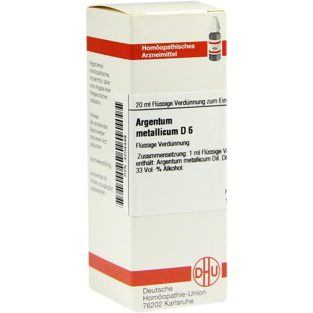 ARGENTUM METALLICUM D 6 Dilution