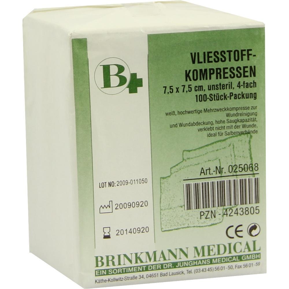 VLIESSTOFF-KOMPRESSEN 7,5x7,5 cm unsteril 4fach