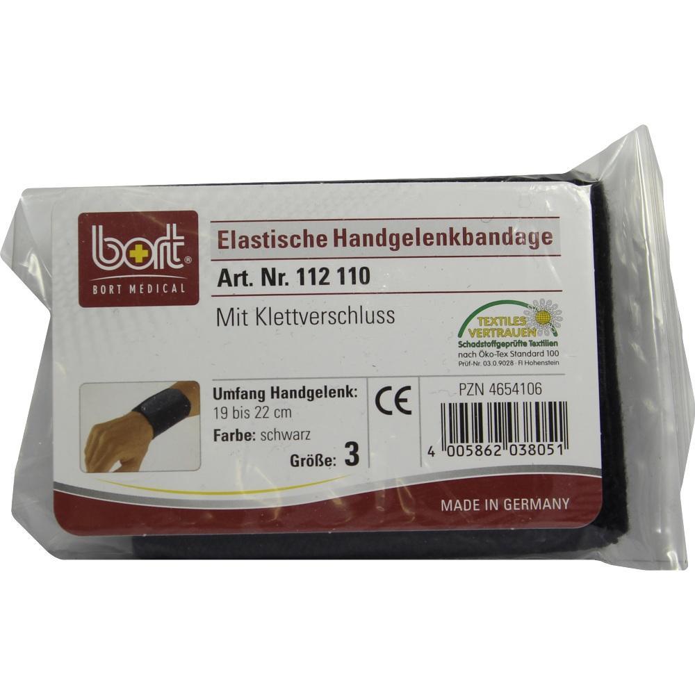 BORT Handgelenkbandage Gr.3 schwarz m.Klettvers.