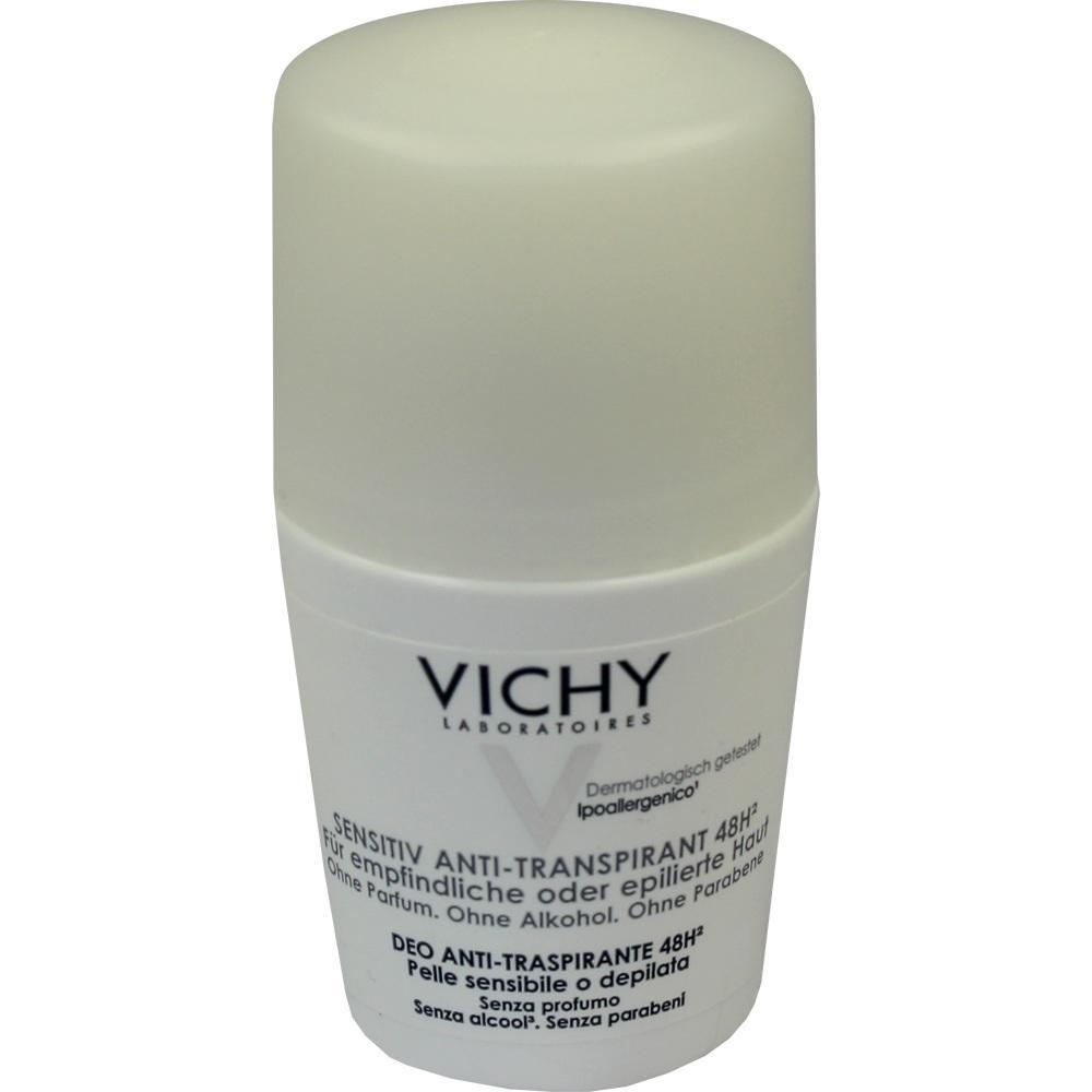 06712813, Vichy Deo Roll-On Sensitiv Anti-Trans. 48H, 50 ML