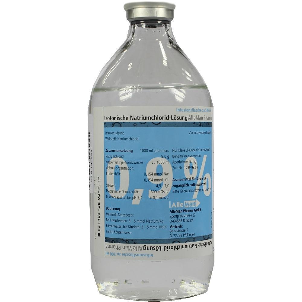 07462991, Isotonische NaCl 0.9% DELTAMEDICA Glasinf., 1X500 ML
