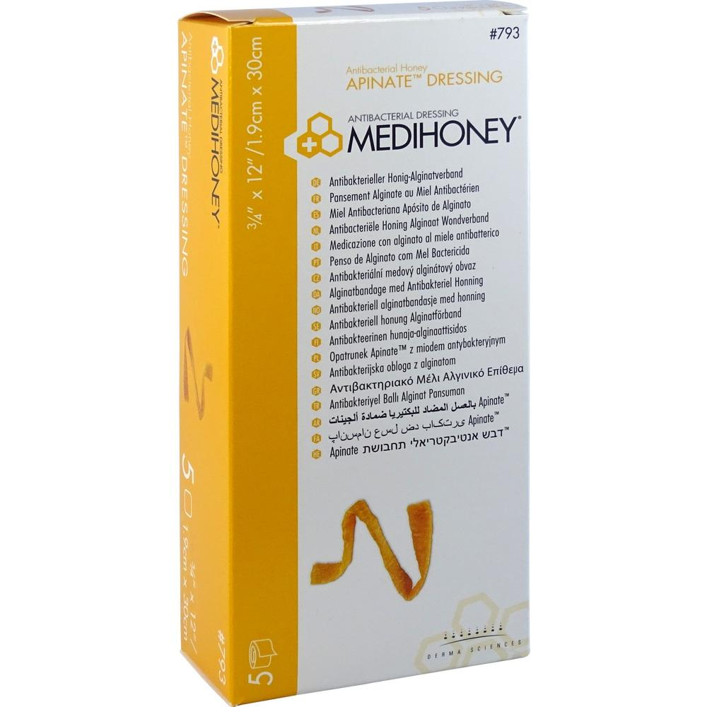 07617755, Medihoney Apinate Honig-Alginatverband 1.9x30cm, 5 ST
