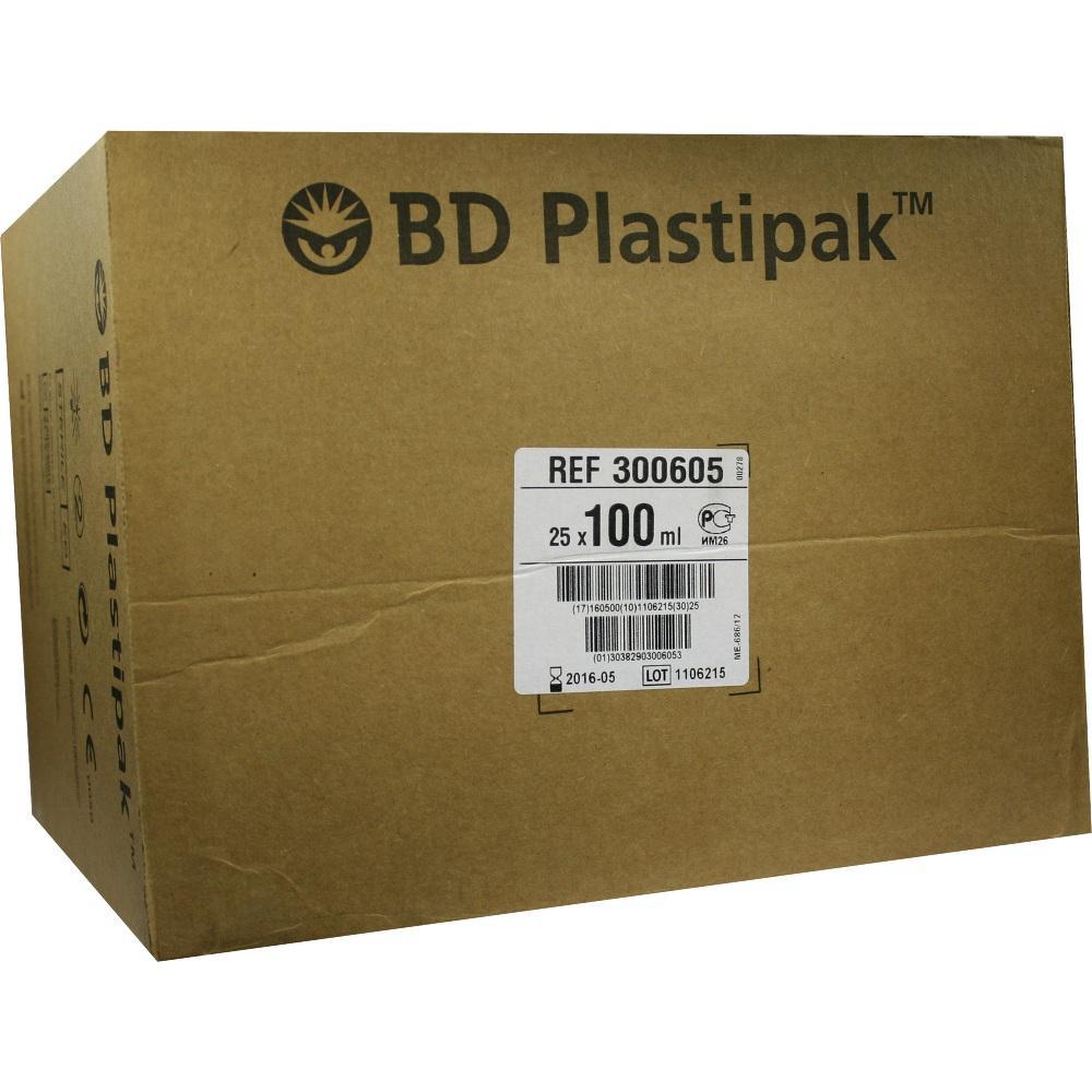 07664223, BD Plastipak W+B 100ml m Katheteransatz, 25 ST