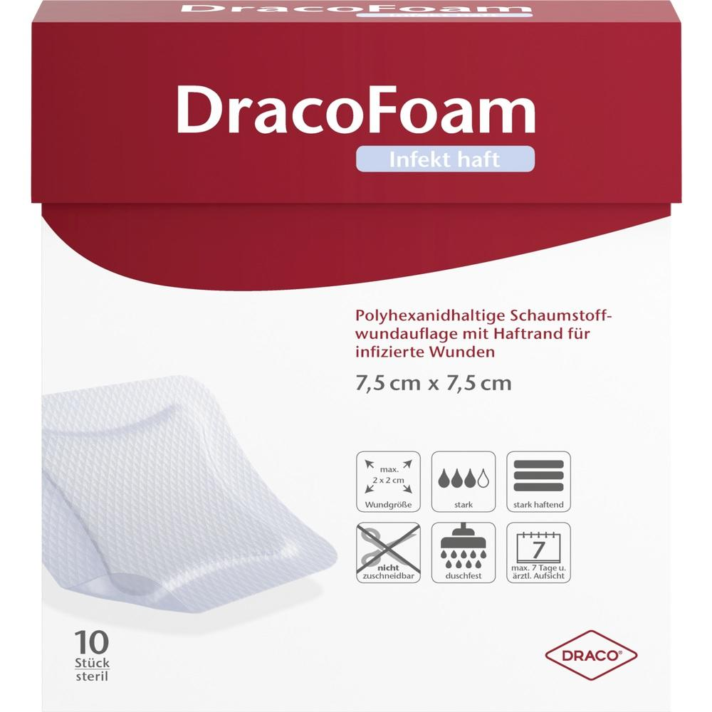 07730635, DracoFoam Infekt haft Schaumst. Wundauf. 7.5x7.5cm, 10 ST