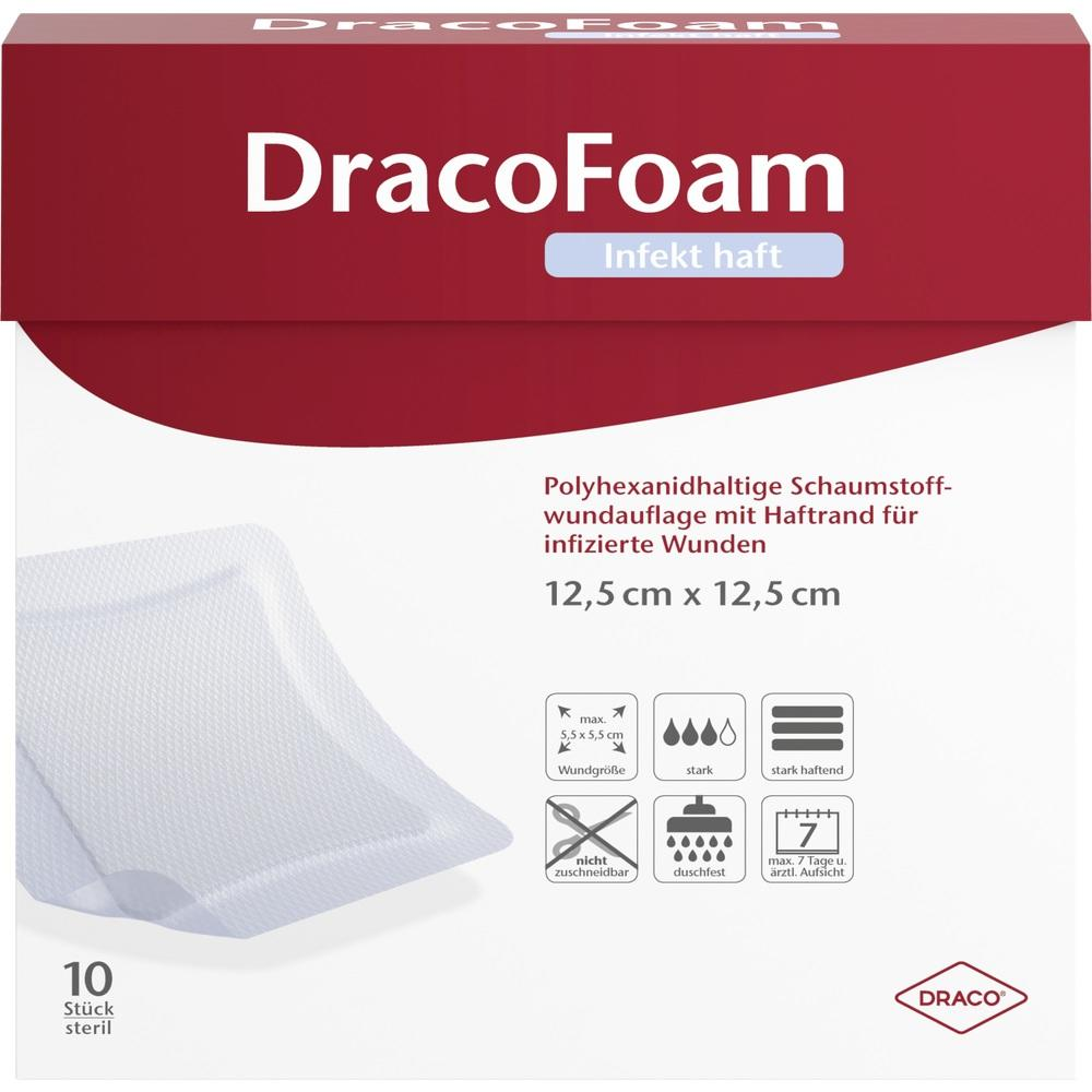 07730658, DracoFoam Infekt haft Schaumst.Wundauf.12.5x12.5cm, 10 ST