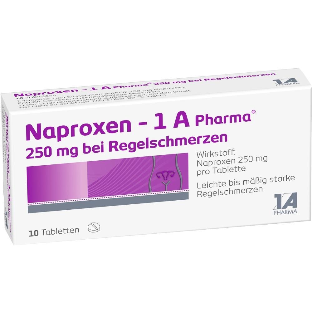 09244991, Naproxen - 1 A Pharma 250mg bei Regelschmerzen, 10 ST