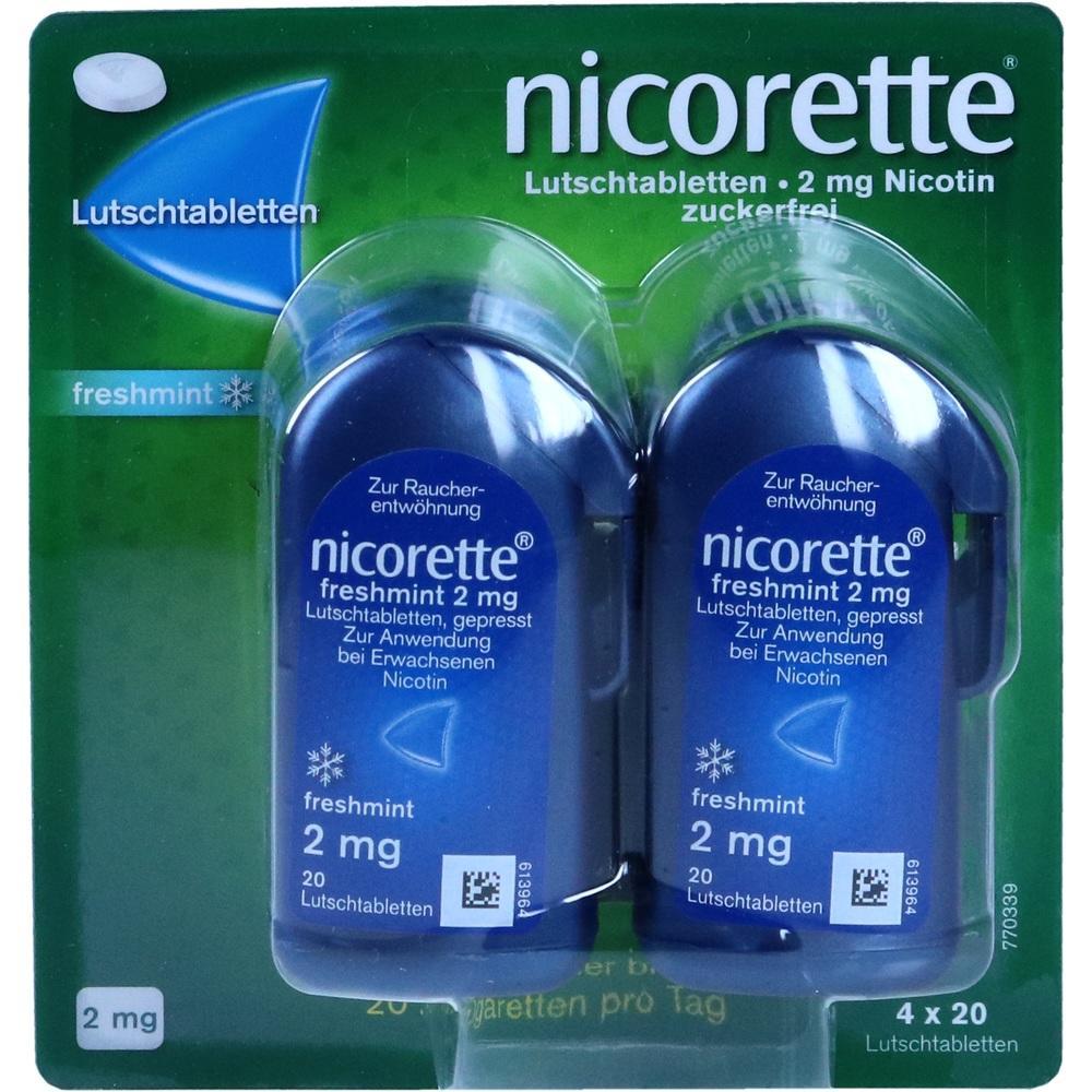 09633907, Nicorette freshmint 2mg Lutschtabletten gepresst, 80 ST