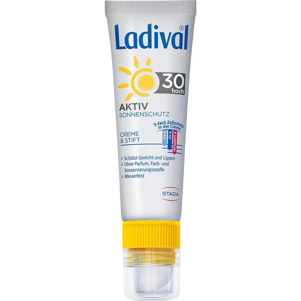 09932136, Ladival Aktiv Sonnenschutz f.Gesicht u.Lipp. LSF30, 1 P
