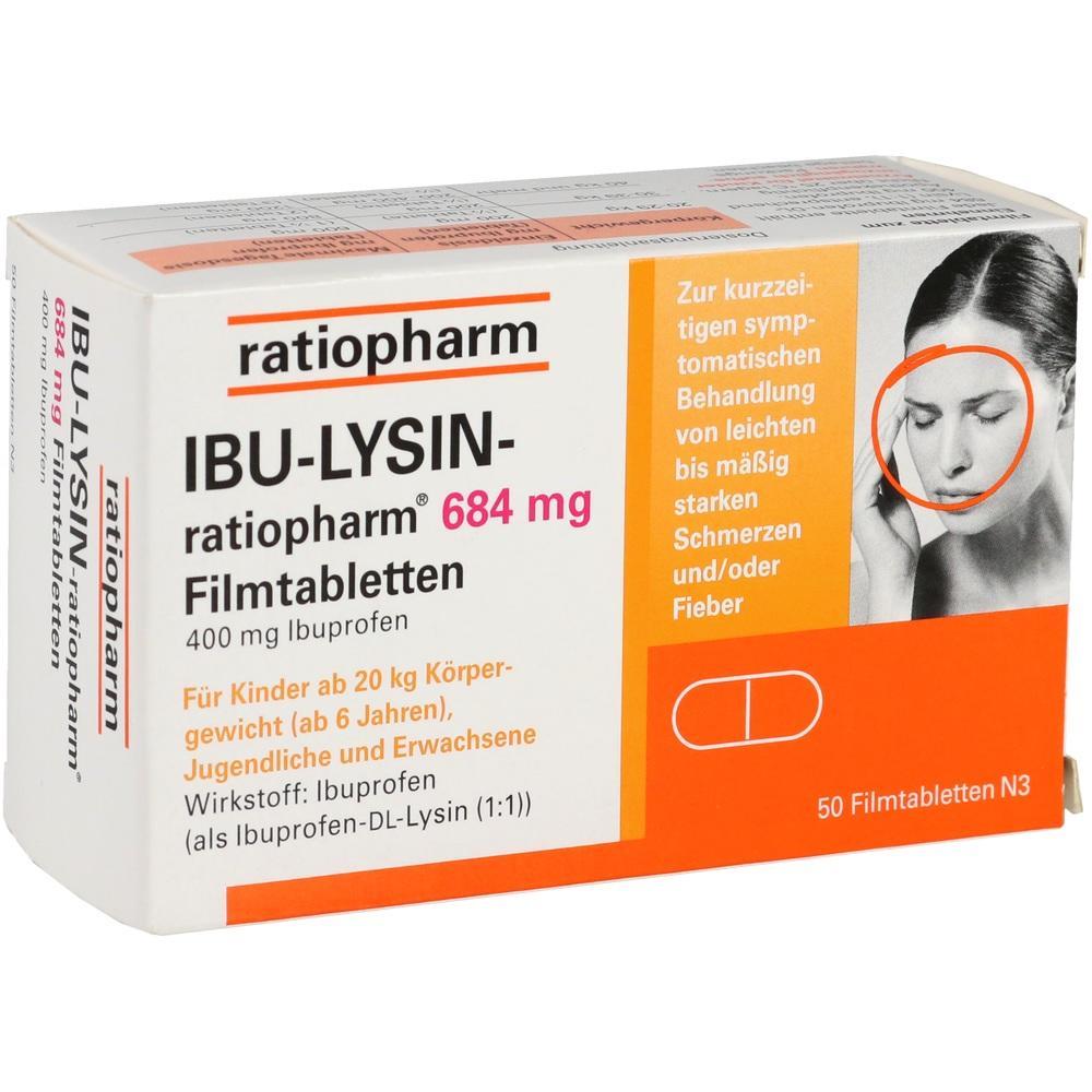10019638, IBU-Lysin-ratiopharm 684mg Filmtabletten, 50 ST