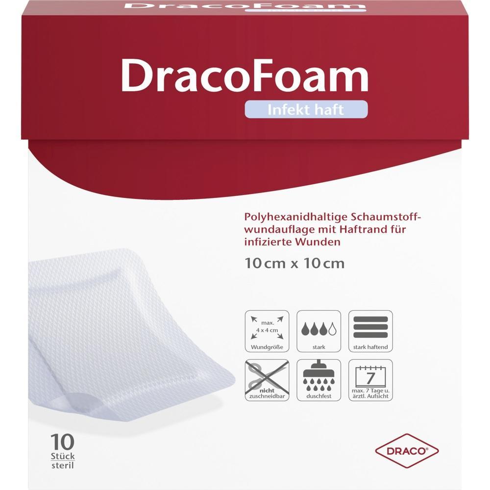 10084110, DracoFoam Infekt haft Schaumst. Wundaufl.10x10cm, 10 ST