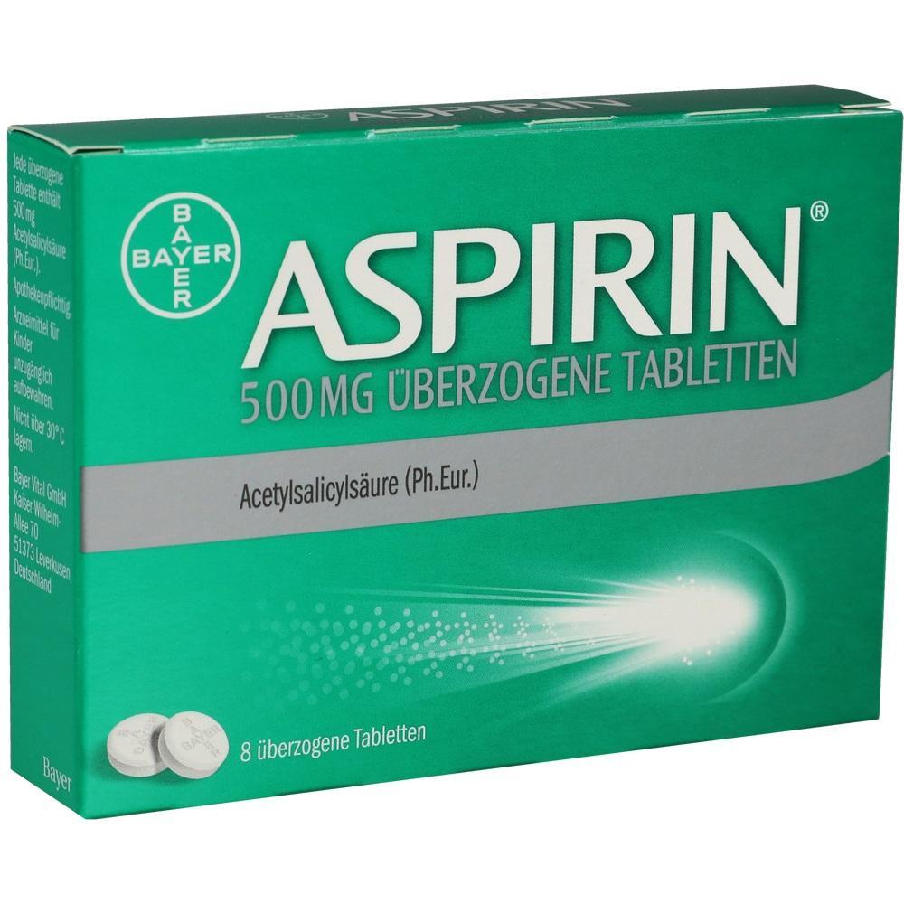 10203595, Aspirin 500mg überzogene Tabletten, 8 ST