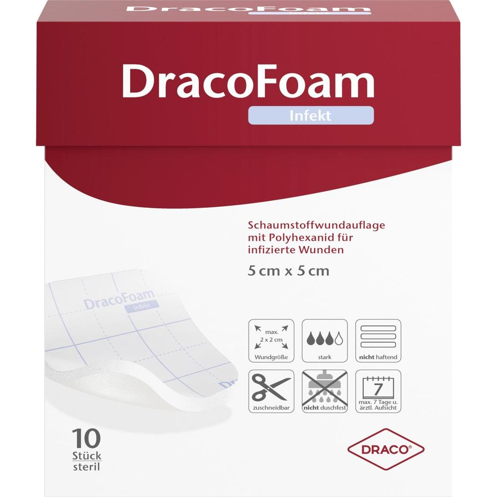 10317608, DracoFoam Infekt Schaumstoff Wundauf.5x5cm, 10 ST