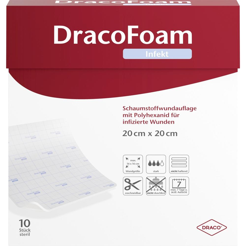 10317637, DracoFoam Infekt Schaumstoff Wundauf.20x20cm, 10 ST