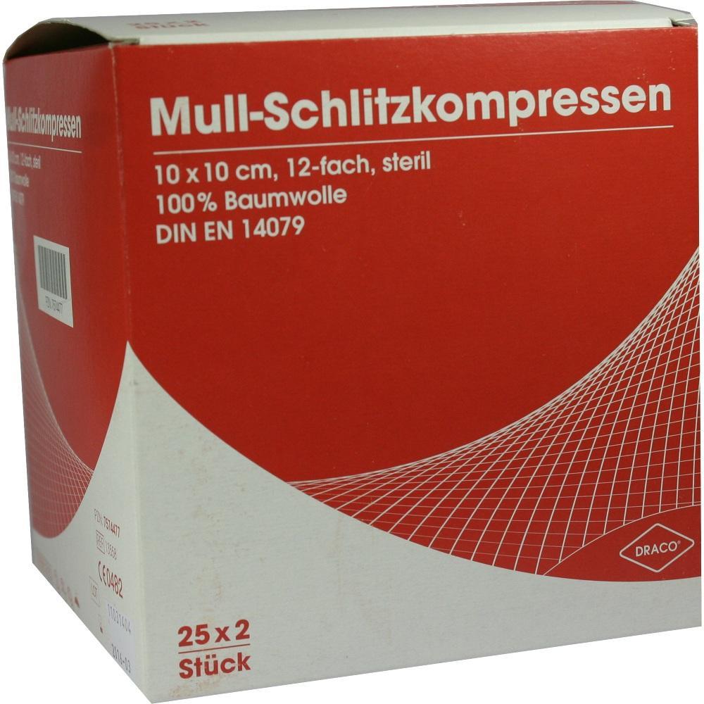 Schlitzkompressen Mull 10x10 cm Steril 12fach