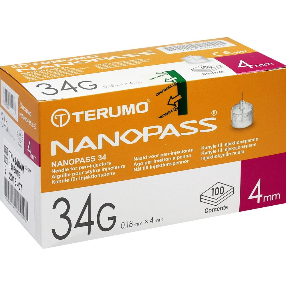 Terumo Nanopass 34 Pen Kanüle 34 G 0,18x4 mm