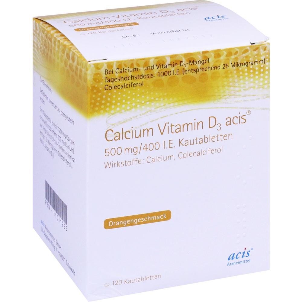 11011219, Calcium Vitamin D3 acis 500mg/400 I.E. Kautablette, 100 ST