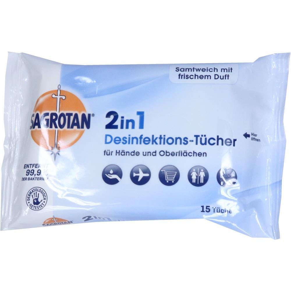 11101081, SAGROTAN 2in1 Desinfektions-Tücher, 15 ST