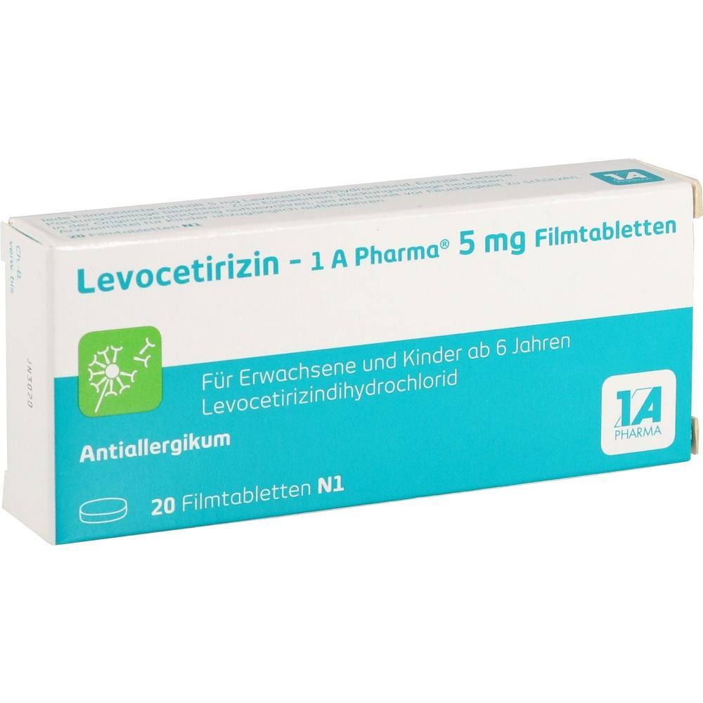 14243947, Levocetirizin - 1 A Pharma 5 mg Filmtabletten, 20 ST