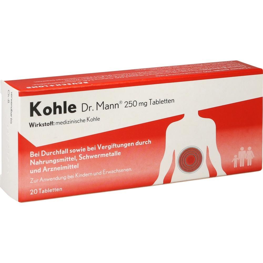 15403005, Kohle Dr.Mann 250mg Tablettem, 20 ST