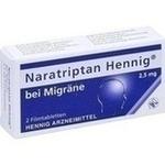 Verpackungsbild(Packshot) von NARATRIPTAN Hennig bei Migräne 2,5 mg Filmtabl.