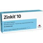 Verpackungsbild(Packshot) von ZINKIT 10 überzogene Tabletten